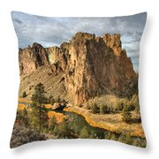 Crooked River Towers Throw Pillow