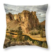 Croooked River Around The Jagged Peaks Throw Pillow