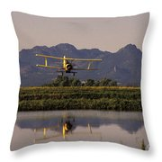 Crop Duster Applying Seed To Rice Field Throw Pillow