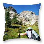 Cropped Rear View Of A Female Hiker Throw Pillow