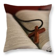 Cross And Bible Throw Pillow