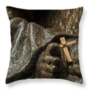 Cross And Feet Throw Pillow
