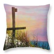 Cross At Sunset Beach Throw Pillow