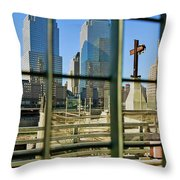 Cross At World Trade Towers Memorial Throw Pillow