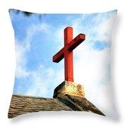 Cross Church Roof Throw Pillow