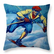 Cross Country Skier Throw Pillow