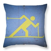 Cross Country Skiing Signboard Throw Pillow