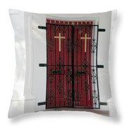 Key West Church Doors Throw Pillow