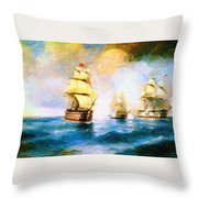 Cross Fire At The Sea Throw Pillow