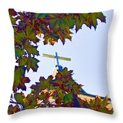 Cross Framed By Leaves Throw Pillow