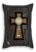 Cross In Leather Throw Pillow