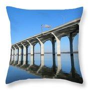 Cross Lake Bridge 1 Throw Pillow