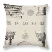 Cross Section And Architectural Details Of Kutciuk Aja Sophia The Church Of Sergius And Bacchus Throw Pillow