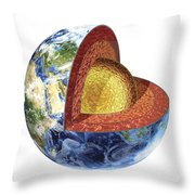 Cross Section Of Planet Earth Showing Throw Pillow