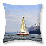 Cross Sound Sailboat Throw Pillow