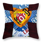 Cross With Heart Rustic License Plate Art On Dark Red Wood Throw Pillow