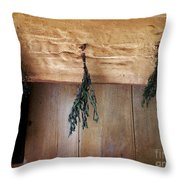 Crossbeam With Herbs Drying Throw Pillow