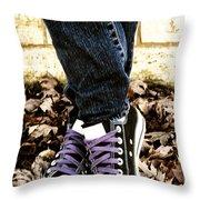 Crossed Feet Of Teen Girl Throw Pillow