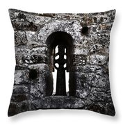 Crosses And Stone Walls At Clonmacnoise Throw Pillow