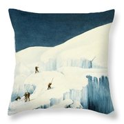 Crossing A Ravine, From A Narrative Throw Pillow