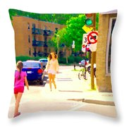 Crossing Notre Dame At Charlevoix To Dilallo Burger Montreal Summer City Scene Carole Spandau Throw Pillow