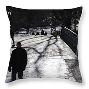 Crossing Over - Central Park - Nyc Throw Pillow