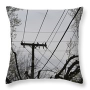 Crossing Power Lines Throw Pillow