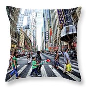 Crossing The City Street Throw Pillow