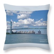 Crossing The Detroit River Throw Pillow