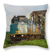 Via Train Crossing The Miramichi River Throw Pillow by Steve Boyko