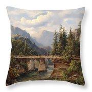 Crossing The River Bridge Throw Pillow