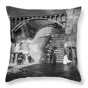 Croton Dam Bw Throw Pillow by Susan Candelario