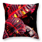 Croton Leaves In Black And Red Throw Pillow