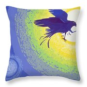 Crow, 1999 Gouache On Paper Throw Pillow