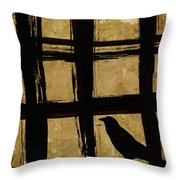 Crow And Golden Light Number 2 Throw Pillow by Carol Leigh