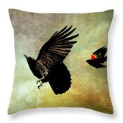 Crow And Red-winged Blackbird Throw Pillow