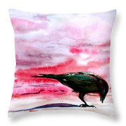 Crow At Dawn Throw Pillow