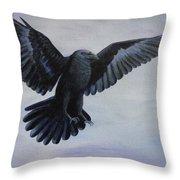 Crow Flight Throw Pillow
