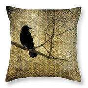 Crow In Damask Throw Pillow