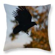 Crow In Flight 2 Throw Pillow