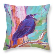 Crow In The Tree 3 Throw Pillow