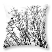 Crow In Tree Throw Pillow