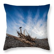 Crow On Driftwood Throw Pillow