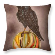 Crow On Marble Edit 3 Throw Pillow