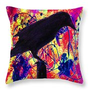 Crow On Red Throw Pillow