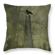 Crow On Spire Throw Pillow