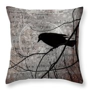 Crow Thoughts Collage Throw Pillow