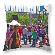 Crowd Watching Filming Of Today Show In Old Montreal-qc Throw Pillow