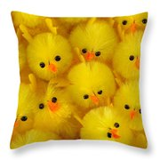 Crowded Chicks Throw Pillow