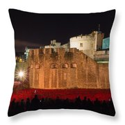 Crowded Poppies Throw Pillow